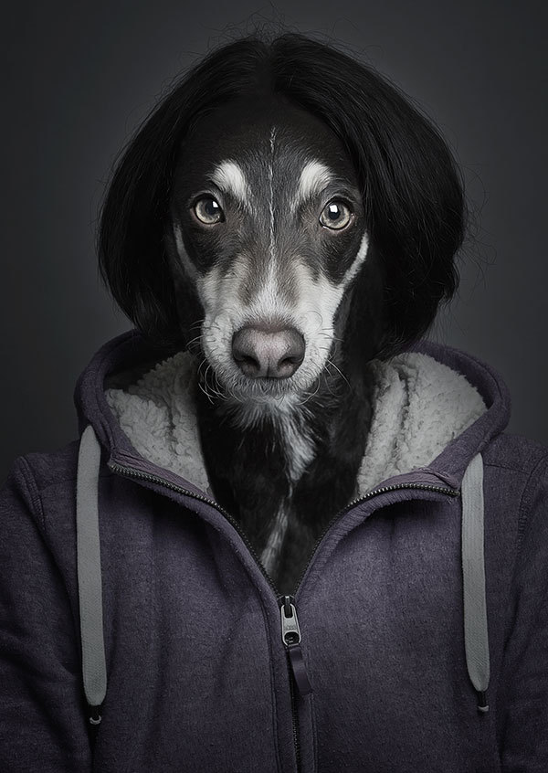 Hundemensch mit Kapuze
