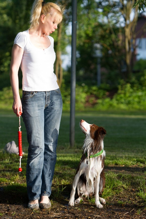 Hund Mailaka mit Frauchen beim Spielen