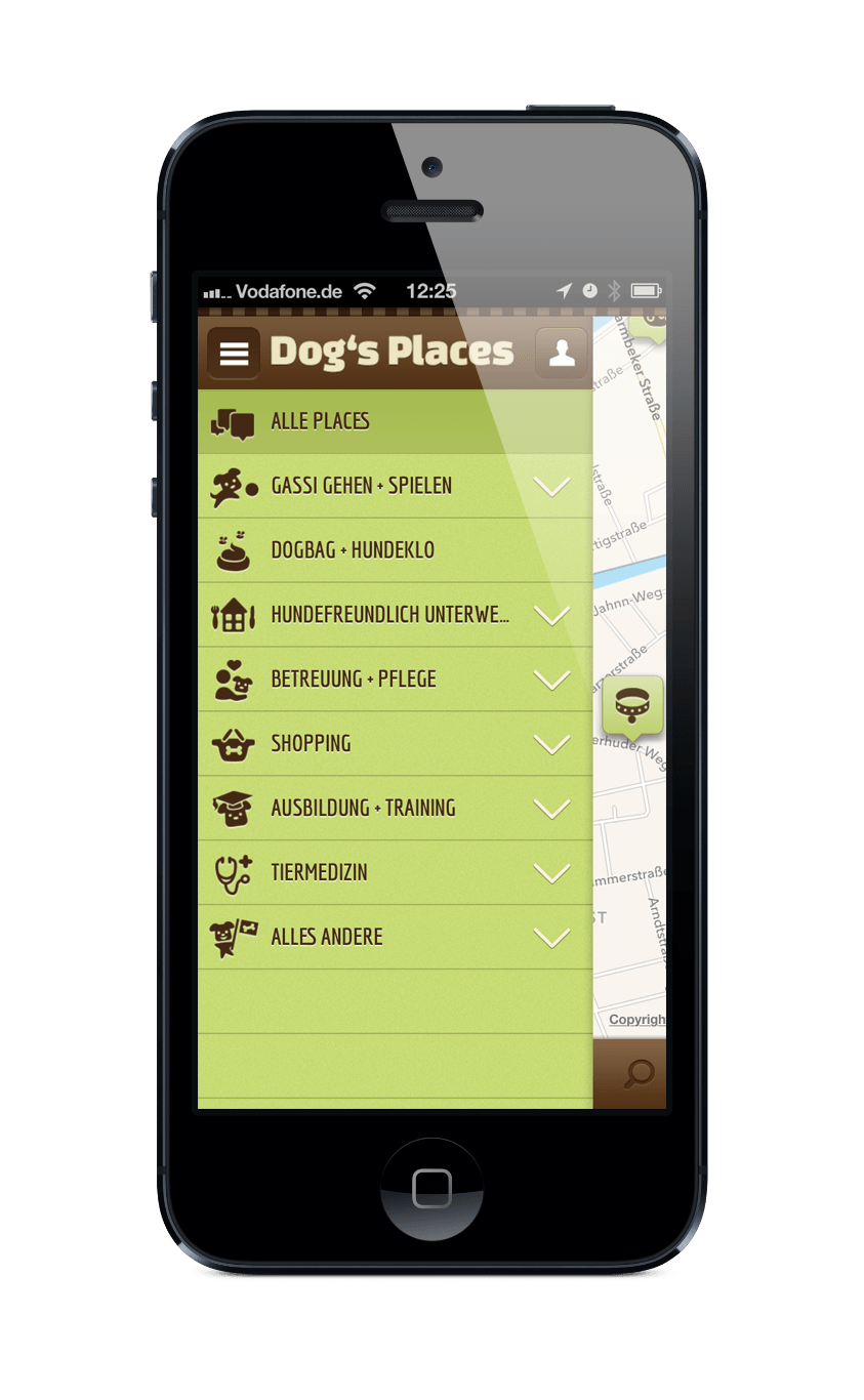 Dog's Places iphone Menü