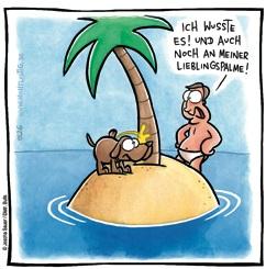 Hund und Mann auf einsamer Insel