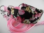 rose Hundehalsband mit Blumen
