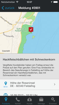 Giftköder Radar Meldung - Screenshot