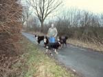Beate mit ihren 4 Hunden