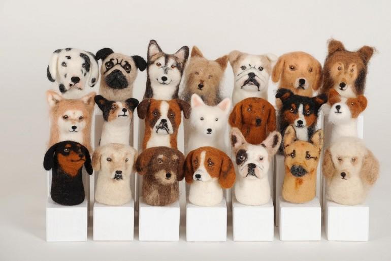 Hunde-Portraits aus Wolle