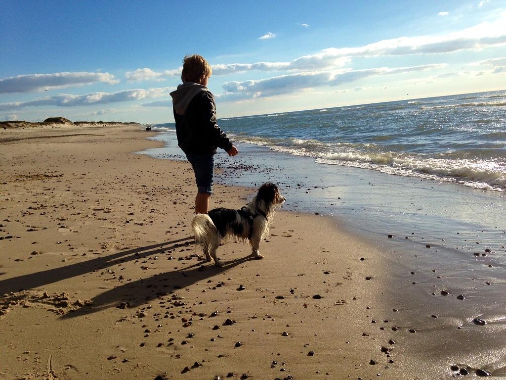 Kind und Hund am Strand