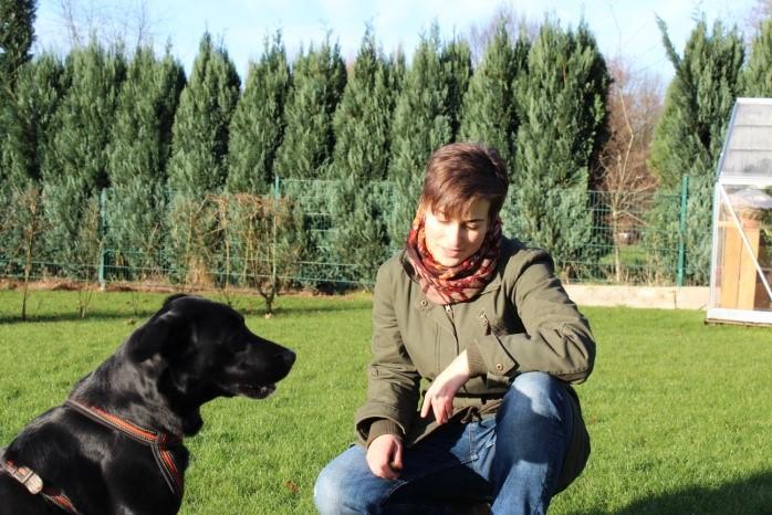 Birte Drescher mit Hund