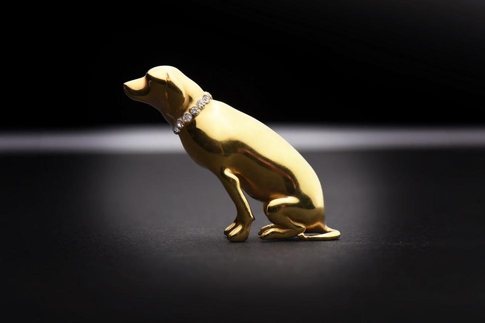 Hund 3D Modell Mogli gold