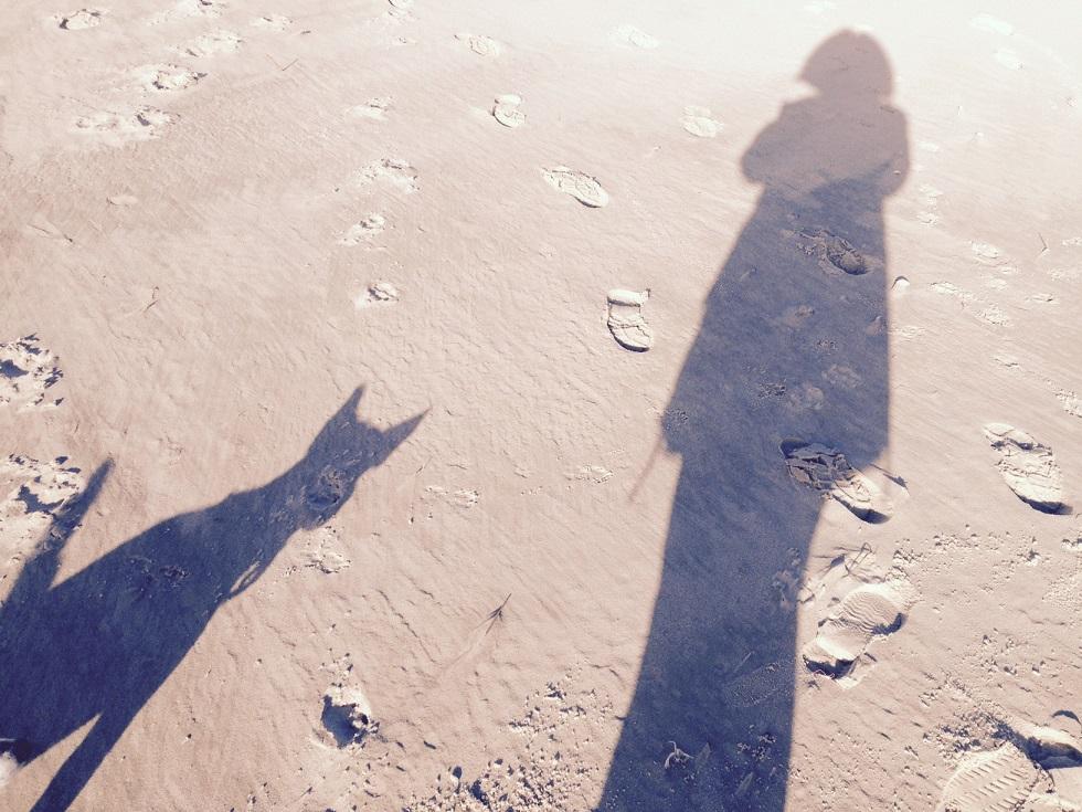 Spaziergang mit Hund am Strand von Sylt