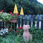 Hundestatuen vor Biergarten